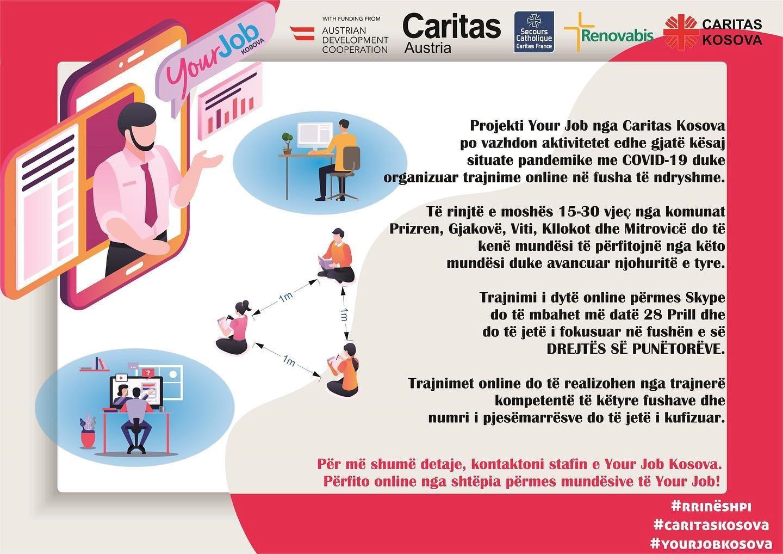 Caritas Kosova ofron trajnime online edhe në kohë pandemie